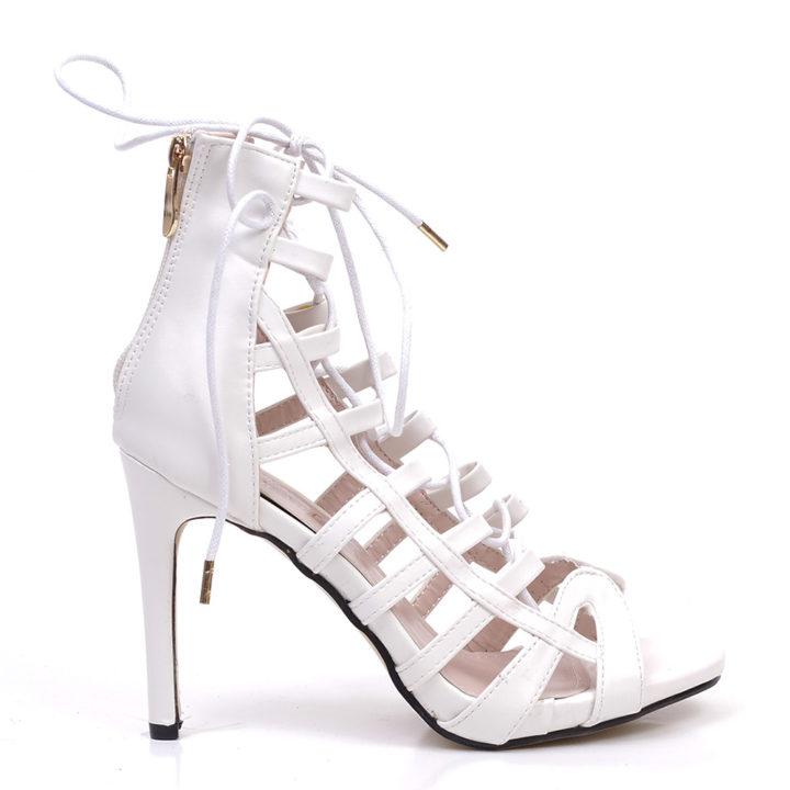 Sandale de mireasa Pretty albe cu siret