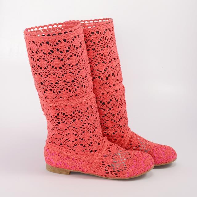 Cizme de vara crosetate Pretty Girl corai / roz