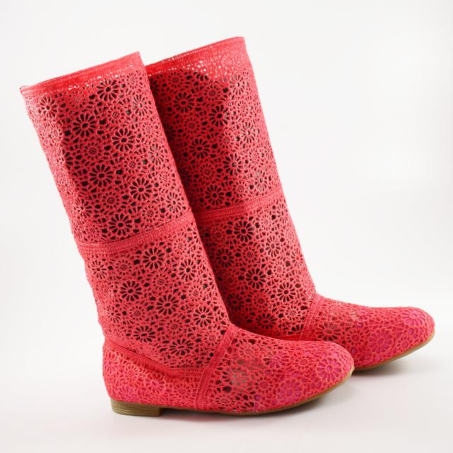 Cizme de vara crosetate Ivona corai / roz