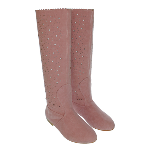 Cizme de vara perforate Eliza roz