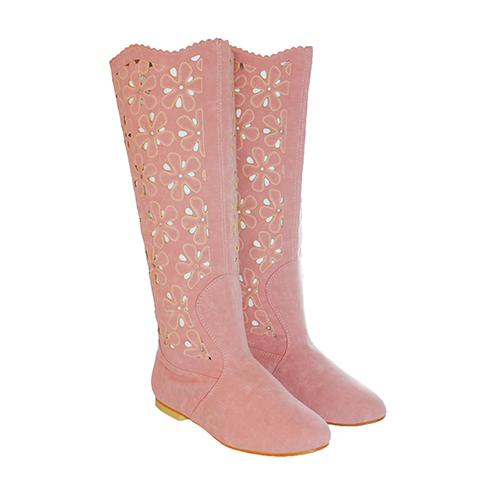 Cizme de vara perforate Casandra roz