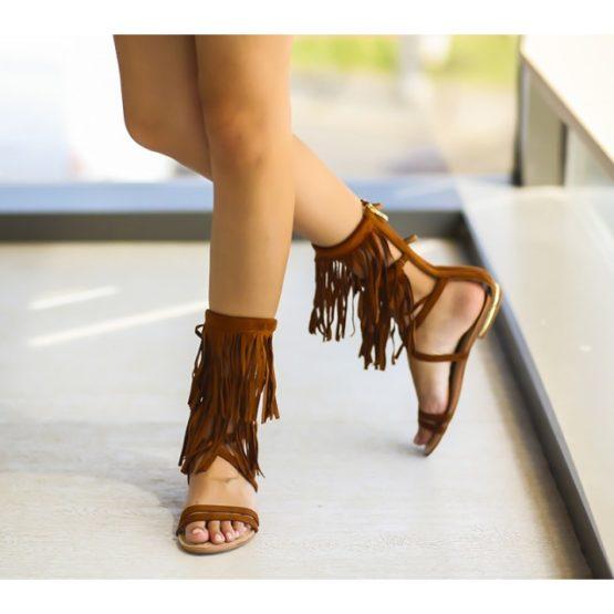 Sandale Gladiator cu franjuri Vanda maro