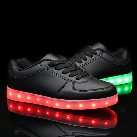 Adidasi LED negri unisex (1)