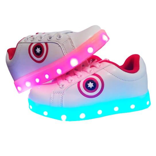Adidasi cu Leduri pentru copii Star-Shield albi - Siret