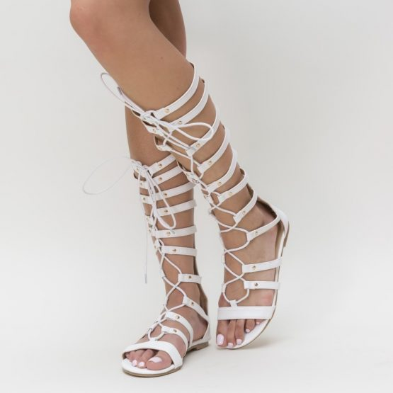 Sandale Gladiator Olivia albe (2)