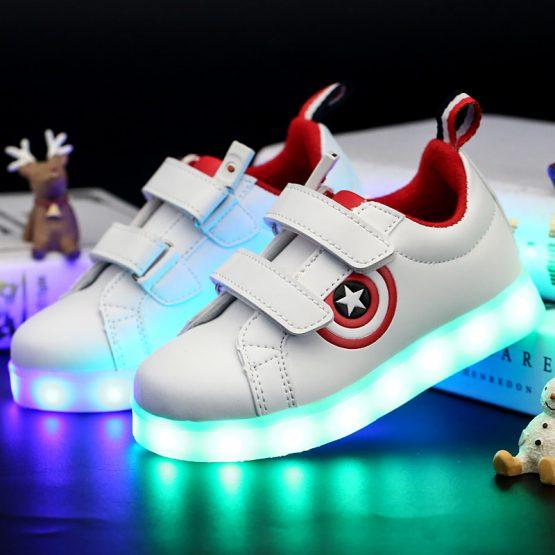 Adidasi cu Leduri pentru copii Star-Shield albi