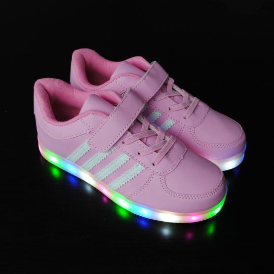 Adidasi cu Leduri roz si dungi albe pentru copii